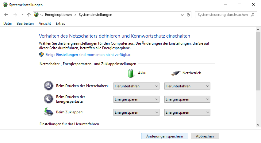 Windows Energieoptionen
