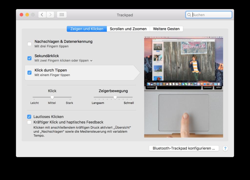 OSX - Tippen statt Klicken